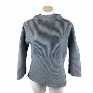 Vince Camuto Gray Ribbed Mock Neck Sweater